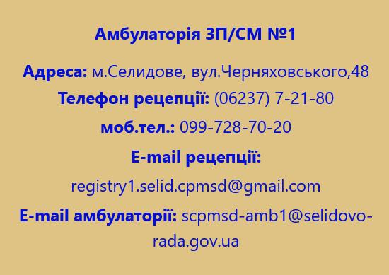 Амбулаторія ЗПСМ №1 м.Селидове